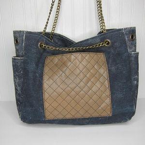 """Mona B """"Milan"""" Upcycled  Canvas Tote Bag"""